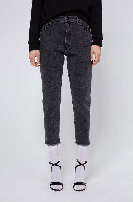 Slim-Fit STELLA Jeans mit hohem Bund und unversäuberten Säumen, Dunkelgrau