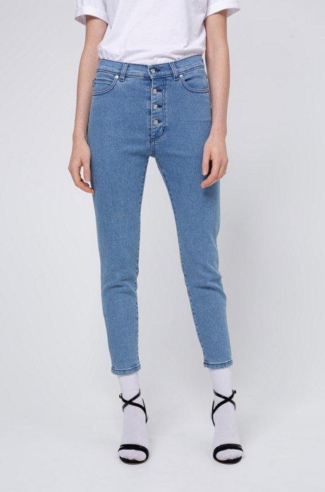 Skinny-Fit Jeans in Cropped-Länge mit sichtbarer Knopfleiste, Blau