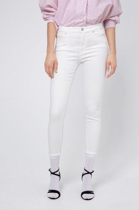 Super Skinny-Fit CHARLIE Jeans in Cropped-Länge mit Reißverschlüssen am Saum, Weiß