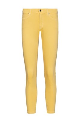 CHARLIE super-skinny-fit cropped jeans with zipped hems, Light Yellow