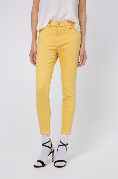 Super Skinny-Fit CHARLIE Jeans in Cropped-Länge mit Reißverschlüssen am Saum, Hellgelb