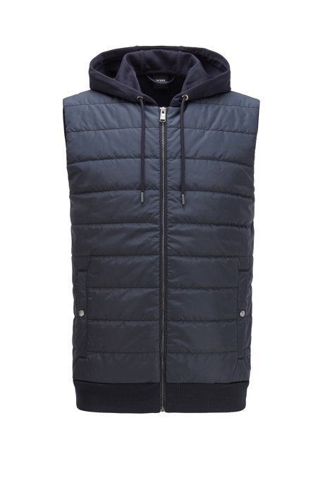 Hooded gilet with lightweight padding, Dark Blue