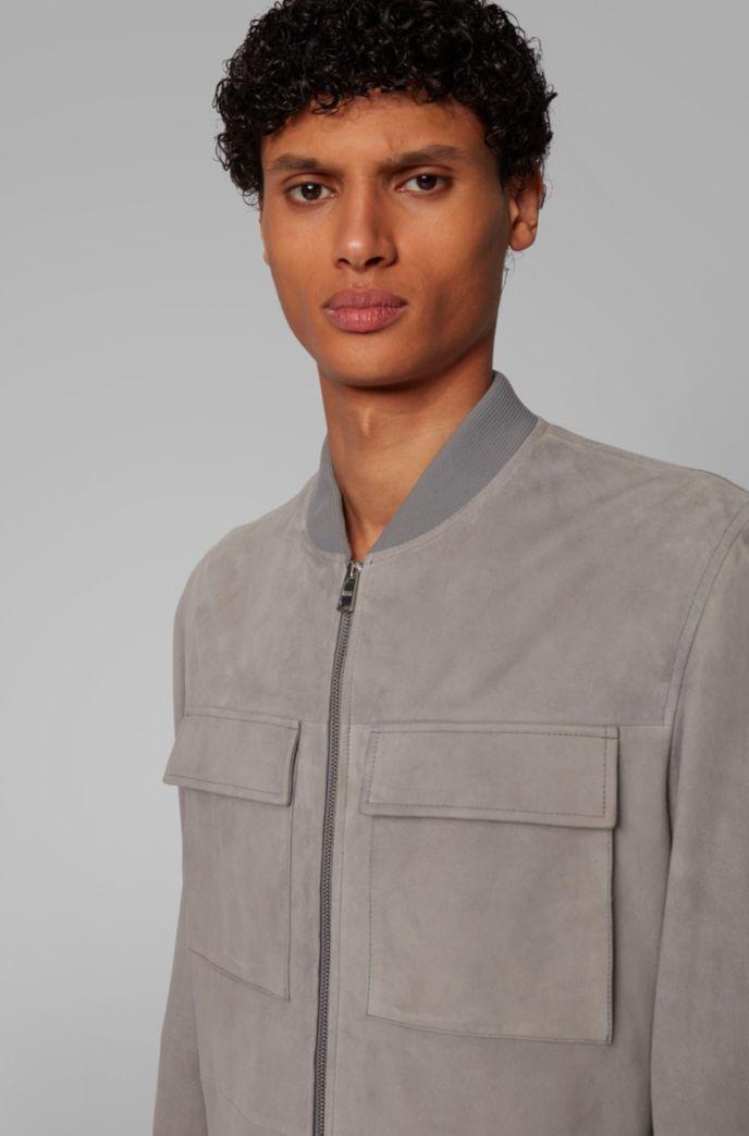 Jacke im Blouson-Stil aus Veloursleder