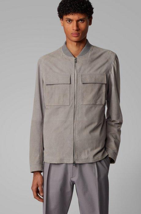 Jacke im Blouson-Stil aus Veloursleder, Silber
