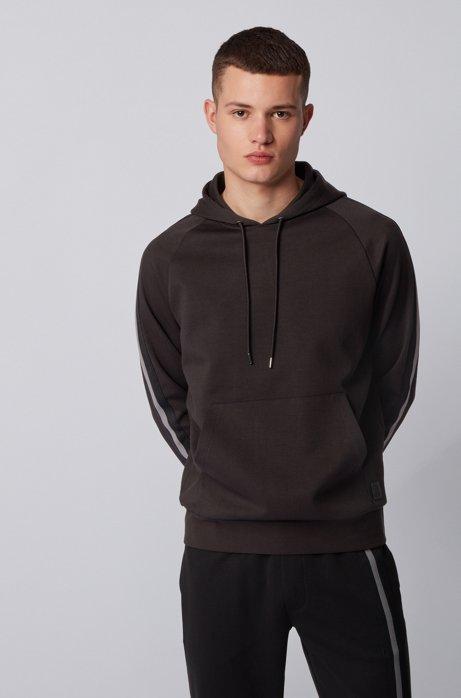 Sweatshirt aus Terry mit Strick-Tapes, Schwarz
