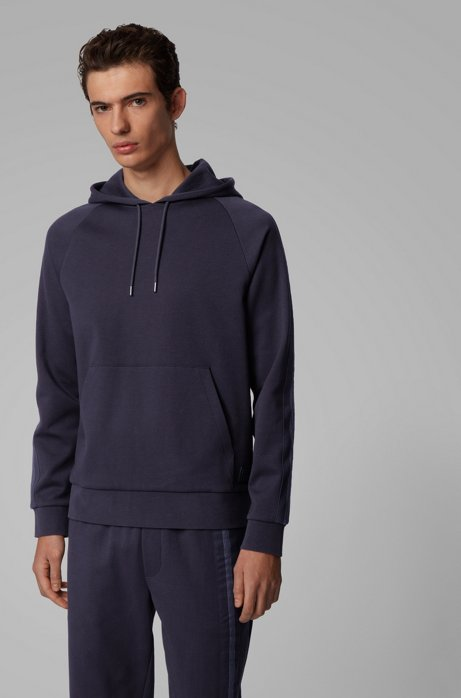 Regular-fit sweatshirt met gebreide biesdetails, Donkerblauw