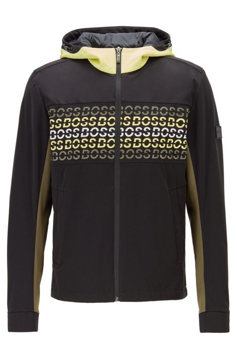 Soft-shell jacket in water-repellent stretch fabric, Black