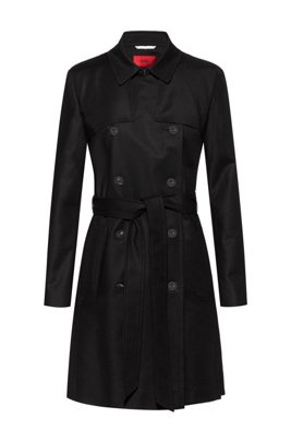 Trench regular fit in cotone elasticizzato idrorepellente, Nero