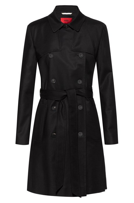 Regular-fit trench coat in water-repellent stretch cotton, Black