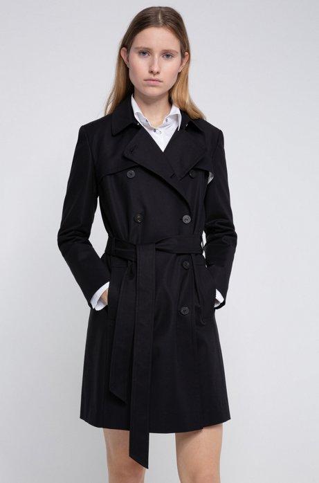 Regular-Fit Trenchcoat aus wasserabweisender Stretch-Baumwolle, Schwarz