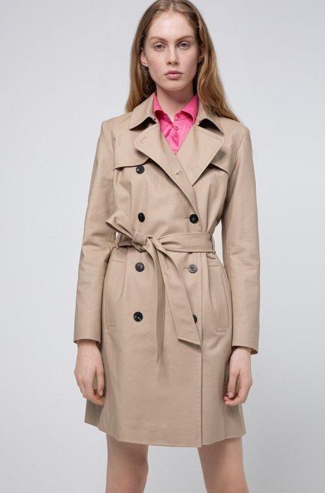 Regular-Fit Trenchcoat aus wasserabweisender Stretch-Baumwolle, Beige
