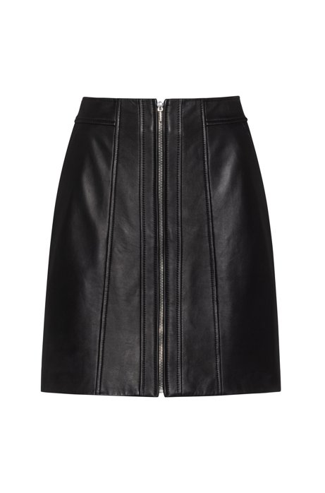 A-line leather skirt with centre-front zip, Black