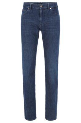 Regular-fit jeans van donkerblauw Italiaans denim, Donkerblauw