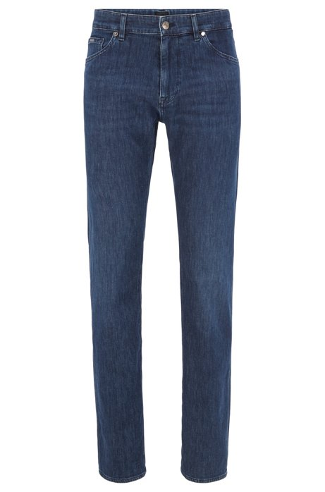 Regular-Fit Jeans aus italienischem Stretch-Denim, Dunkelblau