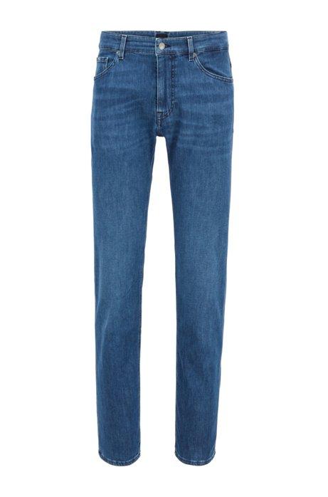 Regular-fit jeans van middenblauw denim met een zachte feel, Blauw