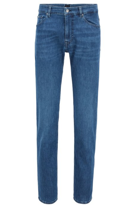 Regular-fit jeans in mid-blue soft-touch denim, Blue