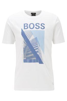 T-shirt slim fit in cotone con grafica della nuova stagione, Bianco