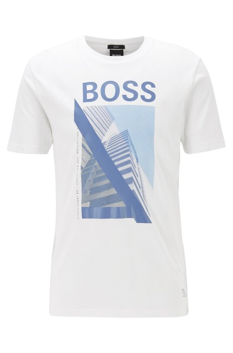 T-shirt Slim Fit en coton orné du motif artistique de la nouvelle saison, Blanc