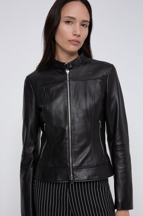 Veste en cuir Regular Fit à col montant, Noir
