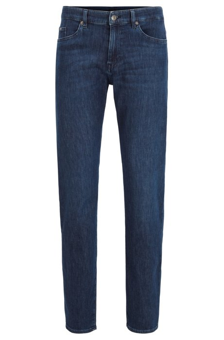 Slim-Fit Jeans aus leichtem Stretch-Denim aus Italien, Dunkelblau