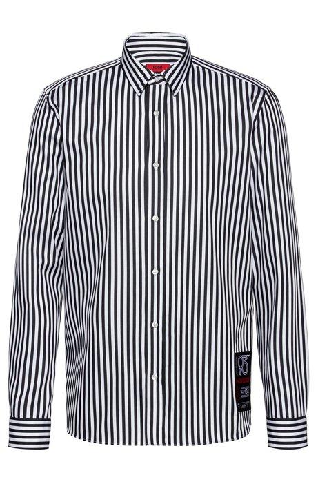 Camisa relaxed fit de algodón a rayas con la etiqueta de HUGO '93, Fantasía
