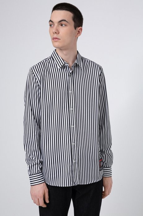 Relaxed-fit striped cotton shirt with HUGO '93 label, Patterned