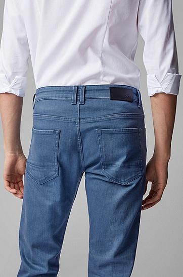 男士天蓝色舒适弹力铅笔牛仔裤,  420_中蓝色