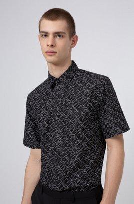 Camisa relaxed fit en lona de algodón con logo cubista estampado, Negro