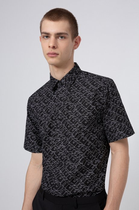 Cotton-canvas relaxed-fit shirt with cubistic logo print, Black