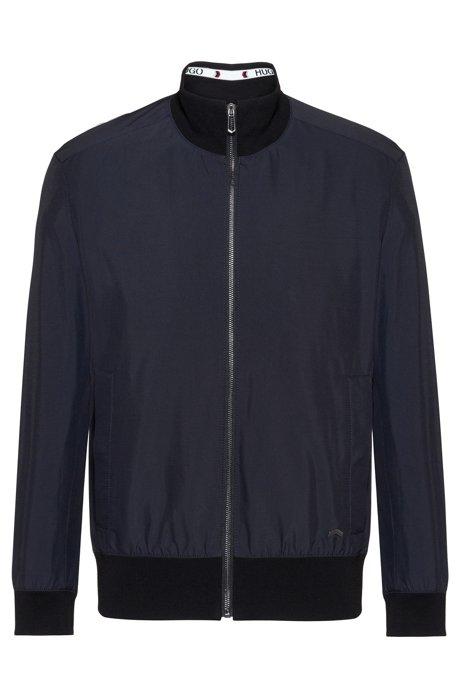 Zip-through jacket with logo tape and chevron details, Dark Blue