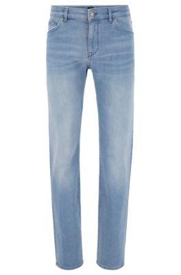 Jean Regular Fit en denim stretch italien bleu moyen, Bleu