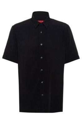 Camisa relaxed fit con acabado lavado en prenda, Negro