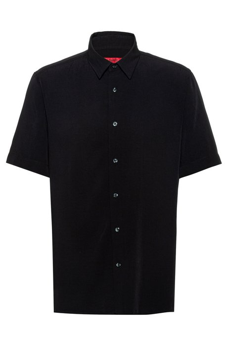 Relaxed-fit shirt with a garment-washed finish, Black