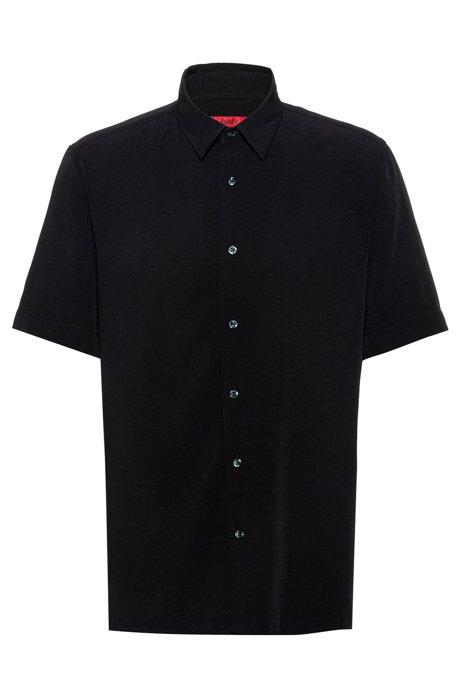 Relaxed-fit overhemd met een garment-washed afwerking, Zwart