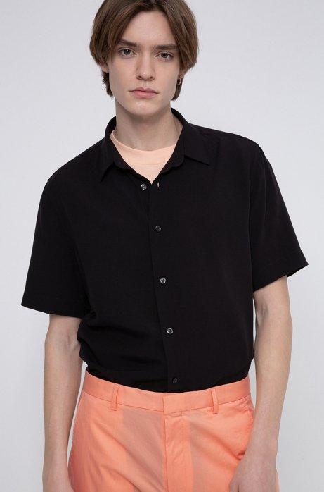 Relaxed-Fit Hemd mit Garment-Waschung, Schwarz