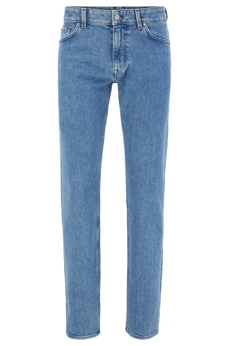 Jean Regular Fit en denim stretch italien bleu moyen, Bleu