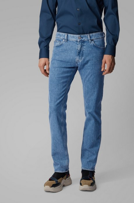 Regular-fit jeans van Italiaans middenblauw stretchdenim, Blauw