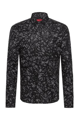 Extra-slim-fit cotton shirt with cassette-tape-inspired print, Patterned