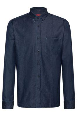 Relaxed-fit overhemd van Italiaans denim, Donkerblauw