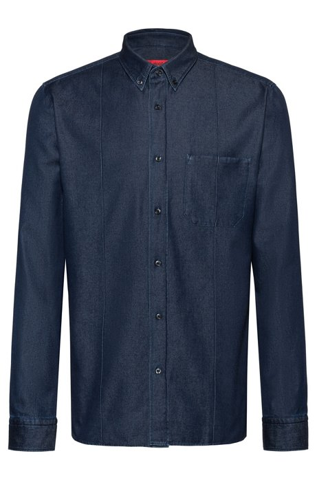 Relaxed-fit shirt in Italian denim, Dark Blue