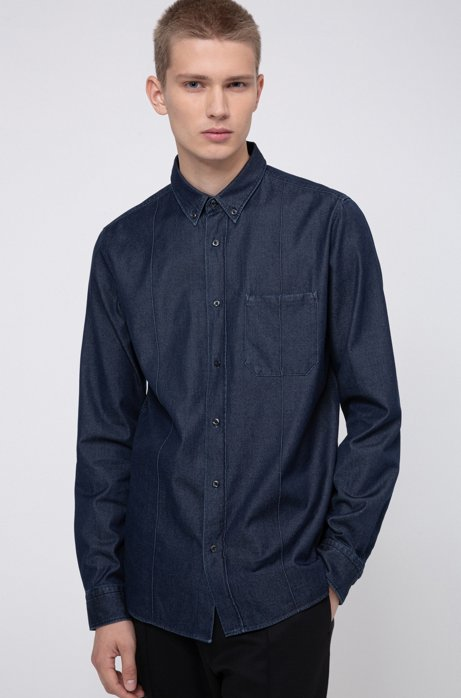 Camisa relaxed fit de denim italiano, Azul oscuro