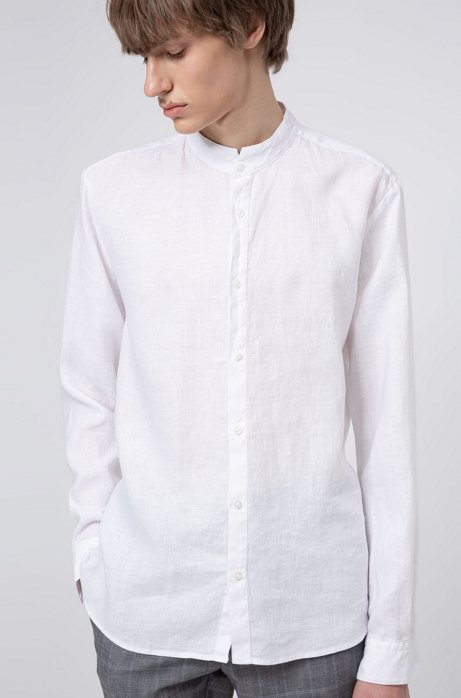 Extra slim-fit linnen overhemd met opstaande kraag, Wit