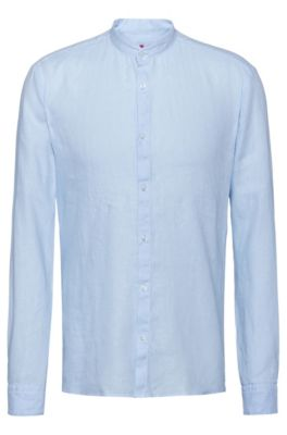 Chemise Extra Slim Fit en lin à col mao, Bleu vif