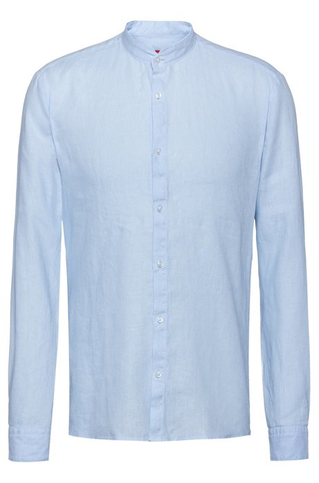 Extra-slim-fit linen shirt with stand collar, Light Blue
