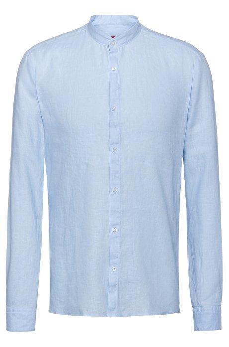 Extra Slim-Fit Leinen-Hemd mit Stehkragen, Hellblau