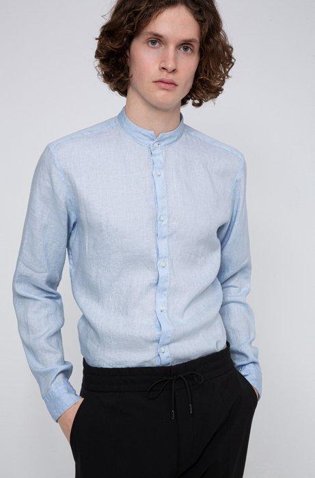 Extra slim-fit linnen overhemd met opstaande kraag, Lichtblauw