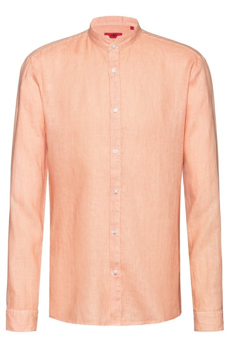 Chemise Extra Slim Fit en lin à col mao, Orange clair