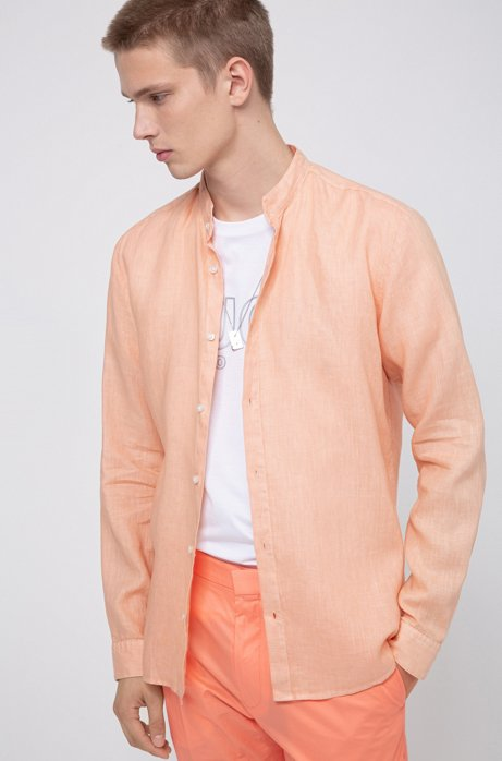 Extra Slim-Fit Leinen-Hemd mit Stehkragen, Hellorange