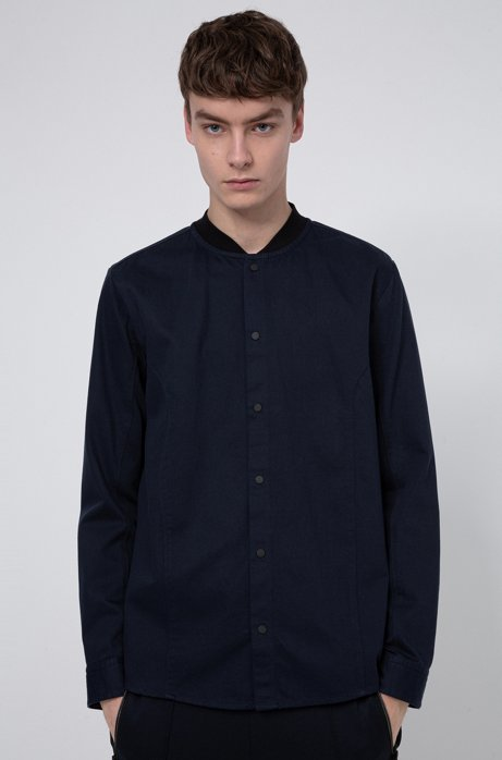 Relaxed-fit overshirt in cotton twill with press studs, Dark Blue