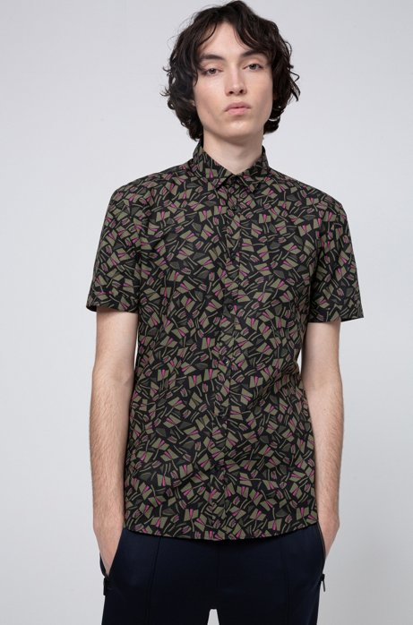 Bedrucktes Extra Slim-Fit Kurzarm-Hemd aus Baumwolle, Gemustert